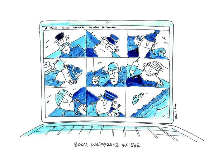 Zoom-Konferenz auf See, Illustration: Denis Metz